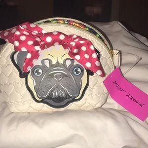 Betsey Johnson Pug Cosmetic Bag. BNWT